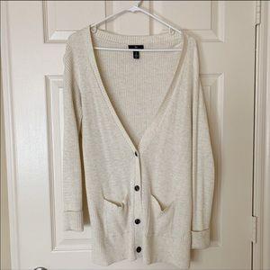 GAP Ribbed Knit Long V-Neck Duster Button Cardigan